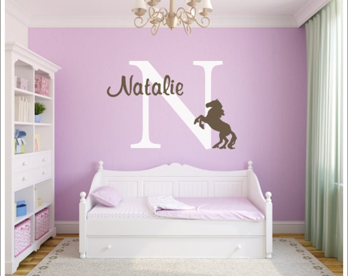 Horse Vinyl Decal Set Large Personalized Vinyl Wall Decal Girls Vinyl Wall Art Name & Initial