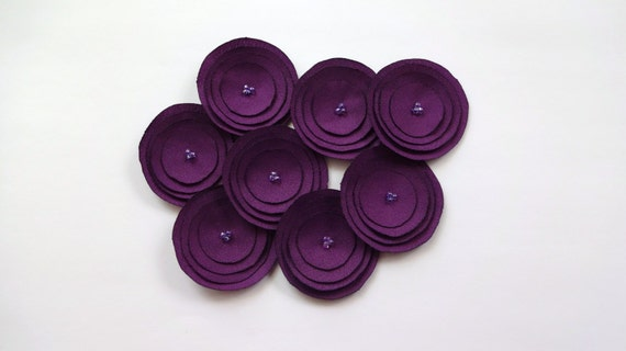 Plum Purple Fabric Poppies Embellishment