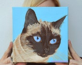 Original cat painting Custom Cat Painting custom cat portrait Siamese cat painting, Acrylic painting