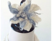 Iris & Rose Felted Flower Ponytail Hairband - Steel Blue and Cream - Natural Fiber Fashion