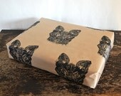 Red Fox Rustic Hand Printed Gift Wrap - One Sheet