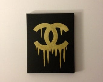 Dripping Chanel Logo Painting (Black & Gold)