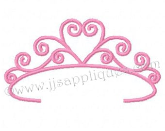 Princess Tiara Embroidery Designs - Tiara set of 10 designs, double stitch and satins stitches for 4x4 and 5x7 hoops - Instant Download
