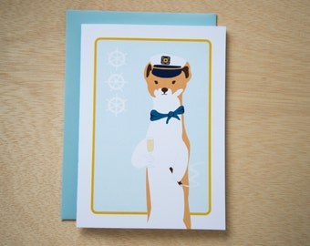 Blank Card 5x7 - Clark the Yachting Weasel / Ferret