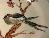 Vintage Handpainted Ceramic Plate Bird in Flowering Tree Signed