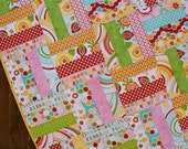 Simply Sweet Pink Red Baby Girl Quilt Yellow Green Flower Strip Handmade Blanket Toddler Baby Quilt