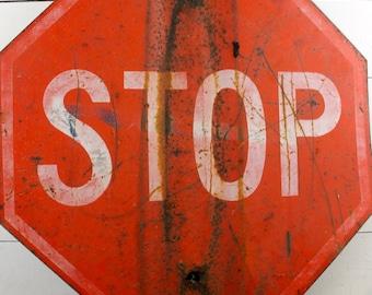 Vintage Red Stop Sign Heavy Metal Industrial 1960