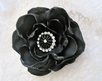 Black Satin Bridal Wedding Flower Hair Clip Bridesmaid Mother of the Bride with Black and  Rhinestone Accent