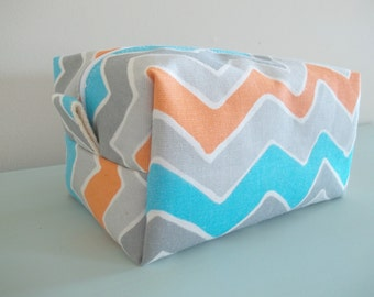 Chevron Makeup Bag  - Cosmetic Pouch -  Lunch Bag - Wet Bag -Waterproof Bag