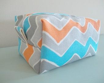 Chevron Makeup Bag  - Cosmetic Pouch -  Lunch Bag - Wet Bag -Waterproof Bag