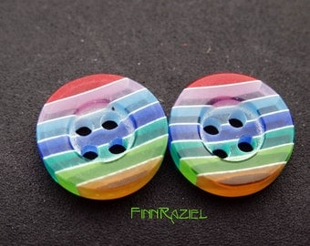 8 small round buttons rainbow colors ø12mm slightly transparent childrens clothing