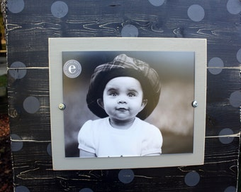 Distressed Picture Frame, Wood 8x10 Frame, Black Picture Frame,  8x10 Picture Frame, Wood Plank Frame, Polka Dot Frame