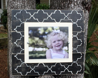 Picture Frame, Distressed Picture Frame, Wood 8x10 Frame, Black Picture Frame,  8x10 Picture Frame, Wood Plank Frame, Lattice Frame
