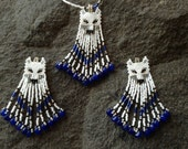 Sapphire Blue Sky Wolf necklace, earring set Native Boho Gypsy style delica hand beaded with gemstones