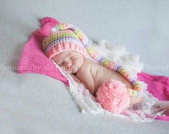 Newborn Pastel Colored  Pixie Striped Sleeping Stocking Cap With Exrta Long Tail Photo Prop 0-12 Months