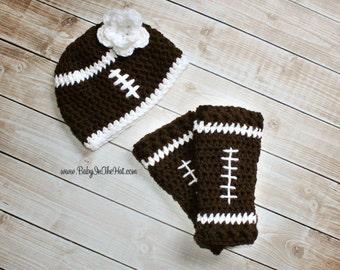 Newborn Football Hat and Crochet  Leg Warmers Photo Prop Leggings Flower Set