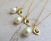 Personalized Necklaces, Pearl Necklaces,Gold Filled, Initial Necklace, Bridal Party, Wedding, Bridesmaid, Maid of Honor Pearl Jewelry
