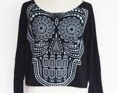 Skull sweatshirt,Skull sweater,Skull Printed  on Pullover Oversize style Bat Style Half Body In Black