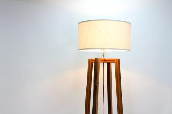 Modern floor lamp reclaimed wood light by wearemfeo for Wooden floor lamp etsy