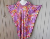 Vintage Psychedelic Floral Print Pucci Style Caftan Loungewear Gown Dress Nightgown Jersey Stretch Nylon One Size Fits All 70s