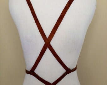 Leather Harness Body Belt with Double Criss Criss Front and Back