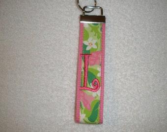 Preppy Monogrammed KeyFob Keychain Wristlet with daisy flower print
