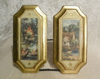 Beautiful Florentine Plaques Clipped Rectangle Shape Made in Italy Incised on Back