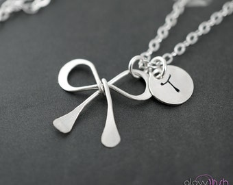 Bow necklace, Personalized initial, Bridesmaids gift, Hand stamped, Bridesmaids bow gifts, Tie the knot, Bow tie charm