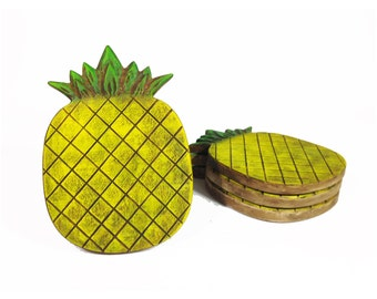 Pineapple Coasters Set of 4 - Tropical drink coasters
