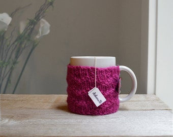 Coffee Mug Cozy - Hand Knit Cozy, 100% Wool, Bright Pink, Gifts under 20