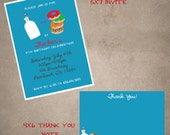 Donuts and Milk invite and thank you note combo-print your own