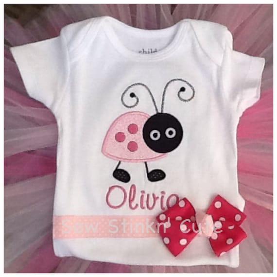 Items similar to personalized ladybug baby gift set shirt