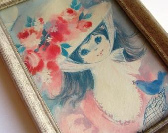 Girl with Hat Framed Art 6x8