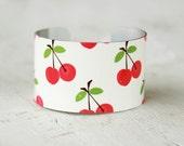 Cuff Bracelet - Cherries Bracelet - Retro Style Cuff - Aluminum Cuff - Large Cuff Bracelet by Zoe Madison (104)