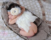 The Grace Kelly - Soft Ivory Feathered Angel Wings and Matching Headband Set - Perfect Newborn Photo Prop