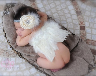 Soft Ivory Feathered Angel Wings and Matching Headband Set - Perfect Newborn Photo Prop