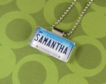 Personalized Connecticut License Plate Pendant Necklace by PL8LINKS