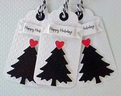 Christmas tags Christmas tree tags Holiday tags  set of 3 black and red christmas gift tags