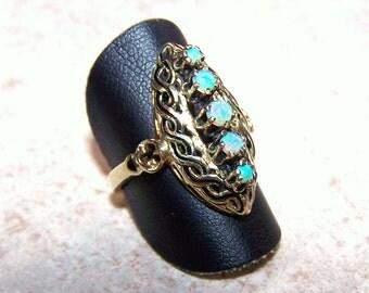 Victorian  Unique 18K Yellow gold  Genuine  Opal  Black Enamel  Filigree Ring, late 1800s