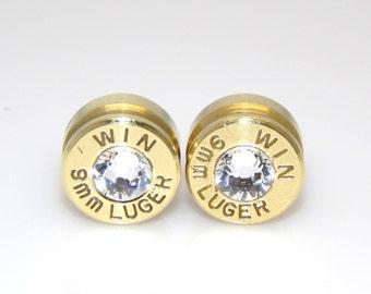 Bullet Earrings. April Birthstone. Diamond . 9mm Luger
