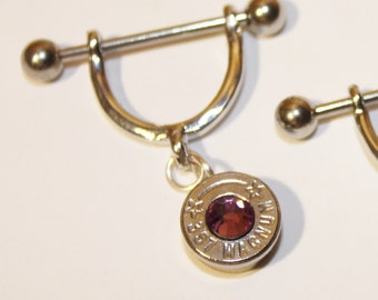 Bullet Dangle Nipple Ring  . YOU PICK Swarovski Crystal