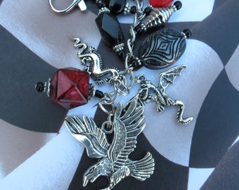 His or Her's  Dragon and Eagle charm, Belt Bling, Attached to your favourite bags,Computer Bag