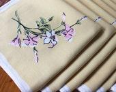 Vintage Linen Napkins 8 Yellow White Flowers Luncheon Dinner