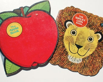 2 Golden Shape Books: The Smiley Lion Book and the Apple Book 1964 vintage children