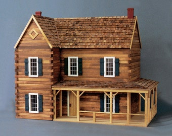 Scale One Inch, The Retreat Log Cabin Dollhouse Kit, 1:12 Scale, Made in USA, TREASURY LIST