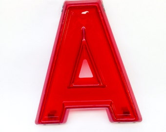 """Red Marquee Letter A - Vintage Plastic Sign - 8"""" tall"""