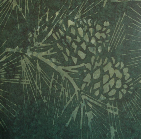 Dark Green Batik Pine Cone Design Fabric