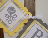 Baby Shower banner, grey and yellow, rattle accents