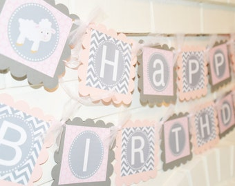 Lamb birthday banner, Little Lamb party, Little Lamb, birthday banner, 1st birthday banner, baby lamb, Sheep