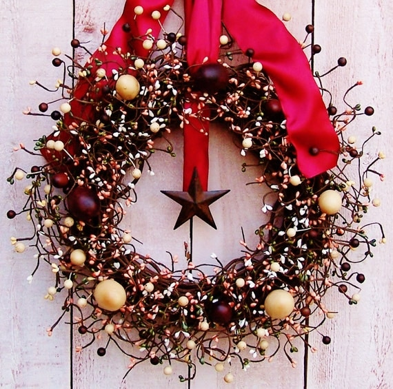 Patriotic Wreath-Fall Wreath-Front Door Wreath-Winter Wreath-Americana Home Decor-AMERICANA CHOCOLATE EGG Berry Wreath-Wreath-Wreaths